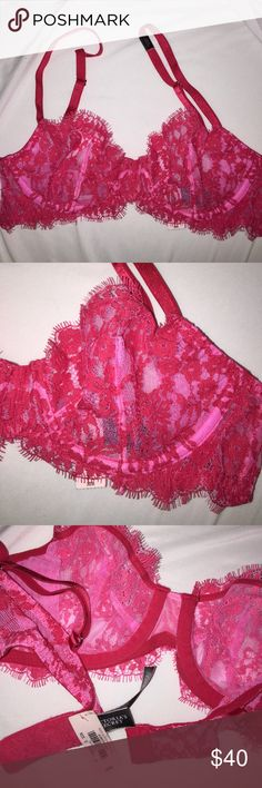 Victoria's Secret Hot Pink 32B NEW bra Never worn, has tags. 32B very sexy unlined Demi buste. Victoria's Secret Intimates & Sleepwear Bras