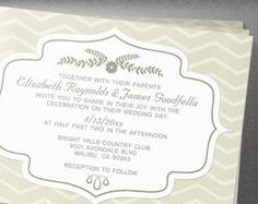 Ivory Chevron Wedding Invitation