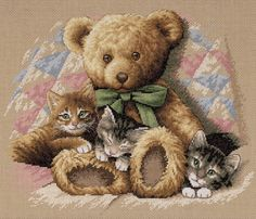 Teddy and Kittens Cross Stitch Kit from Dimensions