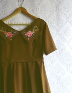 Brown super cute dress with collar and by MyNameIsSueclothes