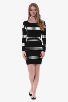 Stretch Nautical Stripe Sweater Dress In Black. Free 3-7 days expedited shipping to U.S. Free first class word wide shipping. Customer service: help@moooh.net