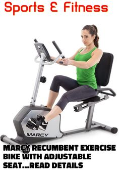 Marcy Recumbent Exercise Bike with Adjustable Seat and 8 Resistance Levels, 300 Pound Capacity NS-1201R ... (This is an affiliate link) #cardiotraining Recumbent Bike Workout, Cardio, Training, Exercise, Reading, Link, Fitness, Sports, Ejercicio