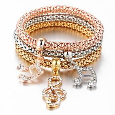 3 Stks/set Crystal Muziek Armband Rhinestone Charm Schedel Goud Kleur Hart Party Sieraden Armbanden & Bangles Voor Vrouwen 2016 Liefde