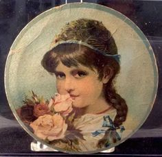 Reusch #Bread #Cake Pastry Girl Smelling Roses Round Victoria Trade Card 1880s  #ECReusch #TradeCard
