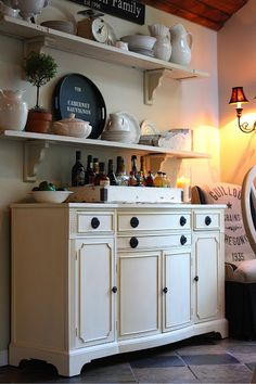 paint the buffet? ~questions answered~ about painted buffet using Annie Sloan Chalk Paint of course. Shabby Chic Furniture, Painted Furniture, Furniture Sets, Annie Sloan Old White, Dining Room Storage, Painting Kitchen Cabinets, Open Shelving, Shelving Display, Wall Shelves