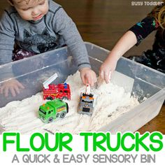 Need a quick and easy sensory bin? You've got to try flour trucks! A great indoor activity for toddlers and preschoolers. A great rainy day activity!