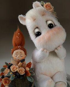 omg the cutest Moomin EVER, Needle Felted Animals, Felt Animals, Needle Felting, Cute Stuffed Animals, Cute Baby Animals, Paperclay, Cute Toys, Cute Creatures, Felt Toys
