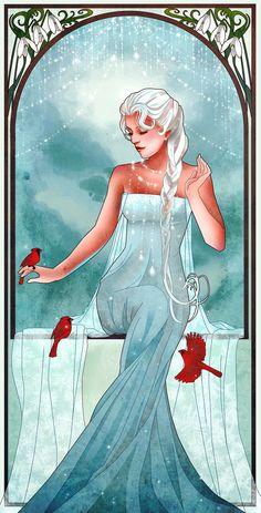 Alphonse Mucha/art nouveau inspired Elsa, Frozen