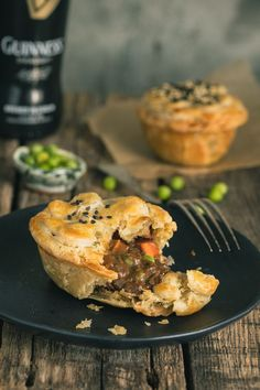Guinness Irish Beef Stew Mini Pot Pies - Guiness Irish Beef Stew is a comforting pub classic. We've elevated the comfort level even further by placing it in a buttery, flaky crust. Mini Pot Pies, Beef Pot Pies, Mini Beef Pot Pie Recipe, Irish Stew, Irish Recipes, Beef Recipes, Fall Recipes, Recipies, Quiches