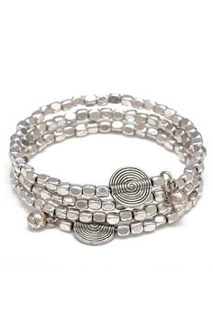 Silver Multi Strand Memory Wire Wrap Bracelet