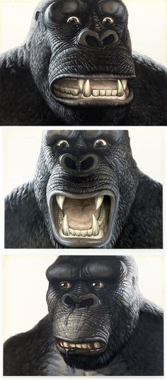 These three portraits of King Kong were displayed in Walton Ford's 2011 exhibition 'I Don't Like To Look At Him, Jack. It Makes Me Think Of That Awful Day On The Island' at the Paul Kasmin Gallery in New York.