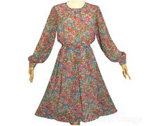 Vintage 1980s Japanese Dress Floral Print Chiffon Long Sleeve Tokyo Dress Dress Vintage, Vintage Outfits, Print Chiffon, 1980s, Beautiful Dresses, Tokyo, Floral Prints, Japanese, Trending Outfits