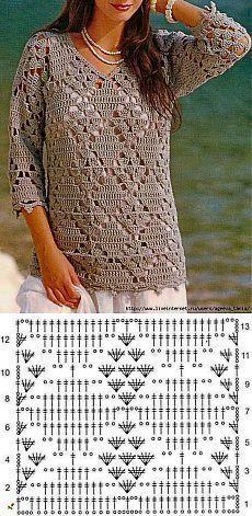 Blouse Au Crochet, Gilet Crochet, Black Crochet Dress, Crochet Cardigan Pattern, Crochet Jacket, Crochet Diagram, Crochet Chart, Crochet Stitches, Knitting Patterns
