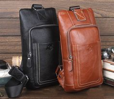 New Men Genuine Leather Cross Body Messenger Shoulder Sling Back Pack Chest Bag   Clothing, Shoes & Accessories, Men's Accessories, Backpacks, Bags & Briefcases   eBay!