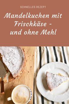 Rezept für einen MAndelkuchen mit Frischkäse - ganz ohne Mehl. Glutenfrei zu backen. Käsekuchen mit Mandeln. #kuchen #backen