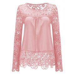 Solid Color Lace Spliced Hollow Out Blouse (PINK,3XL) in Long Sleeves | DressLily.com
