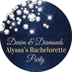 Our Denim and Diamond Stickers are perfect for your casual or formal party. Each Denim and Diamond Personalized Sticker is available in three sizes.