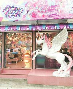 Unicorn cafe must be where they go for those rainbow cakes