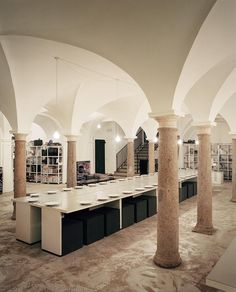 A dining area in the convent's former crypt, where employees meet every afternoon for lunch.