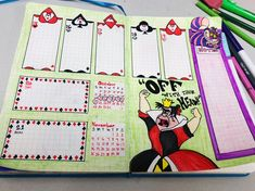 Bullet journal, Disney, queen of hearts, Alice in wonderland Bullet Journal Tracker, Bullet Journal Junkies, Bullet Journal Writing, Bullet Journal Layout, Bullet Journal Inspiration, Bullet Journals, Journal Themes, Journal Ideas, Life Journal