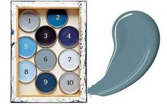 1. Earl Blue; 2. Woad Walk; 3. Cobalt Night; 4. Marine Waters; 5. Cornflower Bunch; 6. Denim Drift; 7. Clock Face; 8. Sash Blue; 9. Indigo Shade, and 10. Borrowed Blue (Dulux)