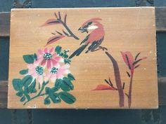 Wooden Music Jewelry Box Hand Painted Bird Flowers Red Interior Vintage Mirror