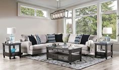 "SM5210 2 pc Latitude run walter light gray linen like fabric sectional sofa. This set features a linen like fabric upholstery with set back arms and pillow backs. Sectional measures 103"" x 108"" x 41"" D x 38"" H . 28"" seat depth, 19"" seat height. Some assembly may be required."
