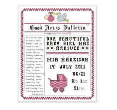birth announcement cross stitch pattern newspaper style name sampler with poem, personalize