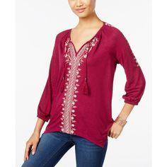 Style & Co. Petite Embroidered Peasant Top, ($47) ❤ liked on Polyvore featuring tops, blouses, wildflower magenta, purple blouse, tie top, petite blouses, peasant blouse and embroidered peasant blouse