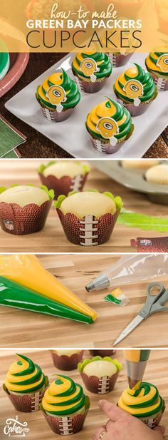 Get ready to cheer on your favorite team with these swirled cupcakes. Swap out your teams colors to show your pride! We don't have to do the packers BC they r not in the super bowl Football Treats, Football Cupcakes, Football Food, Football Desserts, Football Recipes, Packers Football, Football Birthday, Green Bay, Game Day Food