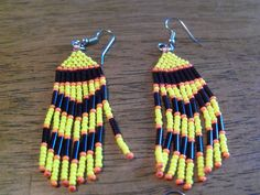 "3"" Tassle earrings, Czech glass seed beads and Japanese bugle beads, yellow or pink by StrungOnLove on Etsy"
