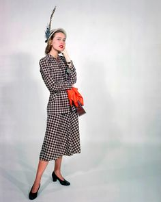 Modeling a Plaid Day Dress