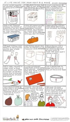 DIY 15 Moving Tips Infographic by Yumi Sakugawa here. Ive moved many many times and these are tips Ive used.