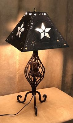 Western Table Lamp Cowboy Boot Texas Metal Shade Star Rusty Vintage Brown  State