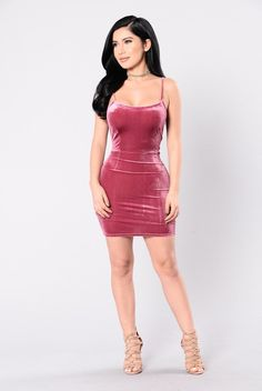- Available in Brown and Magenta - Velvet Dress - Sleeveless - Adjustable Spaghetti Straps - Mini Dress - 90% Polyester 10% Spandex