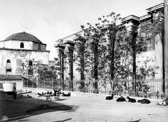 A really old photo of the Library of Hadrian in Athens for . Athens Acropolis, Athens Greece, Back In Time, Ancient Greece, Old Photos, The Past, Old Things, Journey, Black And White