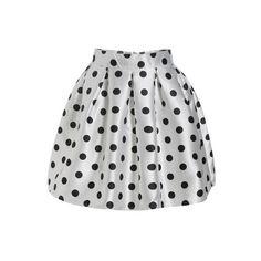 SheIn(sheinside) Polka Dot Flare Skirt ($20) ❤ liked on Polyvore featuring skirts, sheinside, white, white flared skirt, short white skirt, white circle skirt, flare skirt and short flared skirts