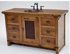 There are several different styles of bathroom vanities below including mission, shaker, rustic, farmhouse, vintage, and contemporary