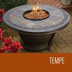Tempe - 48 Inch Round Slate Top Gas Fire Pit Table