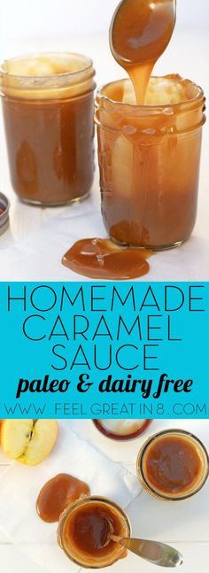Homemade Caramel Sauce - You'd never guess this easy to make, gooey, sweet caramel sauce is paleo, dairy-free, and refined sugar free! | Feel Great in 8