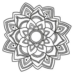 Explore as cores e as texturas para colorir esta mandala floral. Mandala Art, Mandala Drawing, Mandala Painting, Mandala Pattern, Dot Painting, Mandala Tattoo, Mandala Coloring Pages, Coloring Book Pages, Tutorial Paint