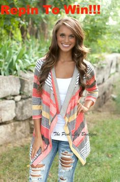 This bestselling cardigan goes live 8/17 at 8:30 am cst! We also want to give one away! Just FOLLOW our pinterest page and REPIN this picture. COMMENT with your size to be entered to win! Good Luck!  http://thepinklilyboutique.com/a-change-in-seasons-cardigan-coral/