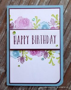 Lovely floral card made using the First Frost stamp set and Frosted Bouquet dies by Stampin' Up! Homemade Birthday Cards, Happy Birthday Cards, Homemade Cards, Karten Diy, Scrapbook Cards, Scrapbooking, Card Sketches, Watercolor Cards, Flower Cards