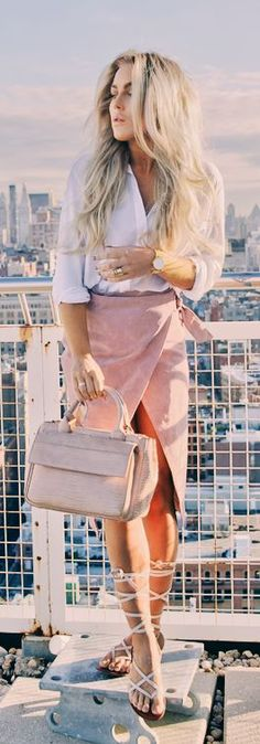 Pink Suede Wrap Skirt Fall Inspo by Angelica Blick