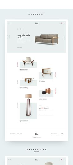 Furniture Website Concept.With minimalist style and parallax effect on slider.