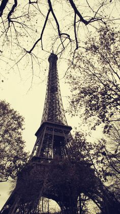 The Eiffel Tower's Lead Grey framework contrasts a subdued sky in this photo by Gokhun Guneyhan.