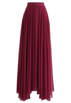 Modest Fashion Ideas Timeless Favorite Chiffon Maxi Skirt in Wine - Skirt - BOTTOMS - Retro, Indie and Unique Fashion Chiffon Maxi, Pleated Midi Skirt, Chiffon Fabric, Mesh Skirt, Midi Skirts, Long Skirts, Unique Fashion, Modest Fashion, Apostolic Fashion