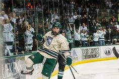 Cory Ward celebrates after scoring the game-tying goal in a 1-1 draw with North Dakota 1/17/14. Check out the entire photo gallery: http://www.bsubeavers.com/mhockey/photos/2013-14/472/