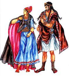 Костюмы знатных этрусков (мужской и женский)