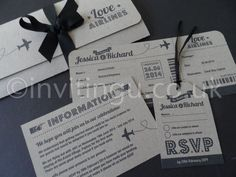 Destination wedding invite with boarding pass and luggage tag RSVP